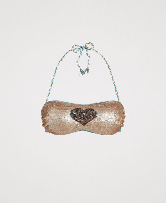 Bandeau bikini top with sequins