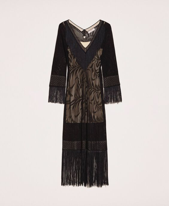 Kleid in Spitzenoptik mit Fransen