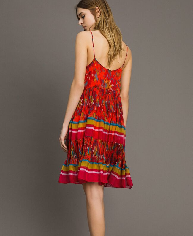 Floral print chiffon dress Multicolour Chiné / Grenadine Striping Woman 191TT2364-03