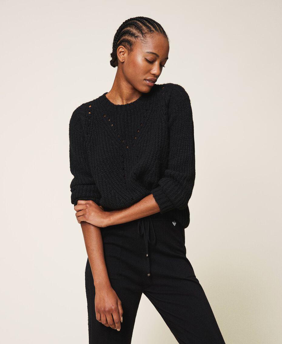 Mixed stitch work jumper Black Woman 202MP3210-01