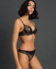 Laminated lace and velvet G-string Bronze Woman 192LL6H88-02