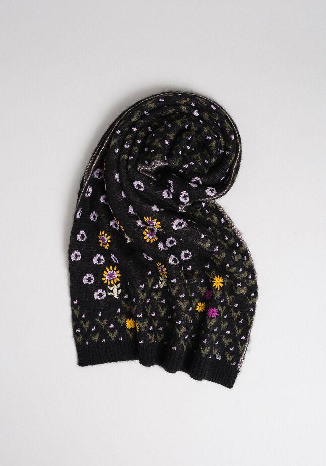 Écharpe jacquard avec fleurs brodées à la main