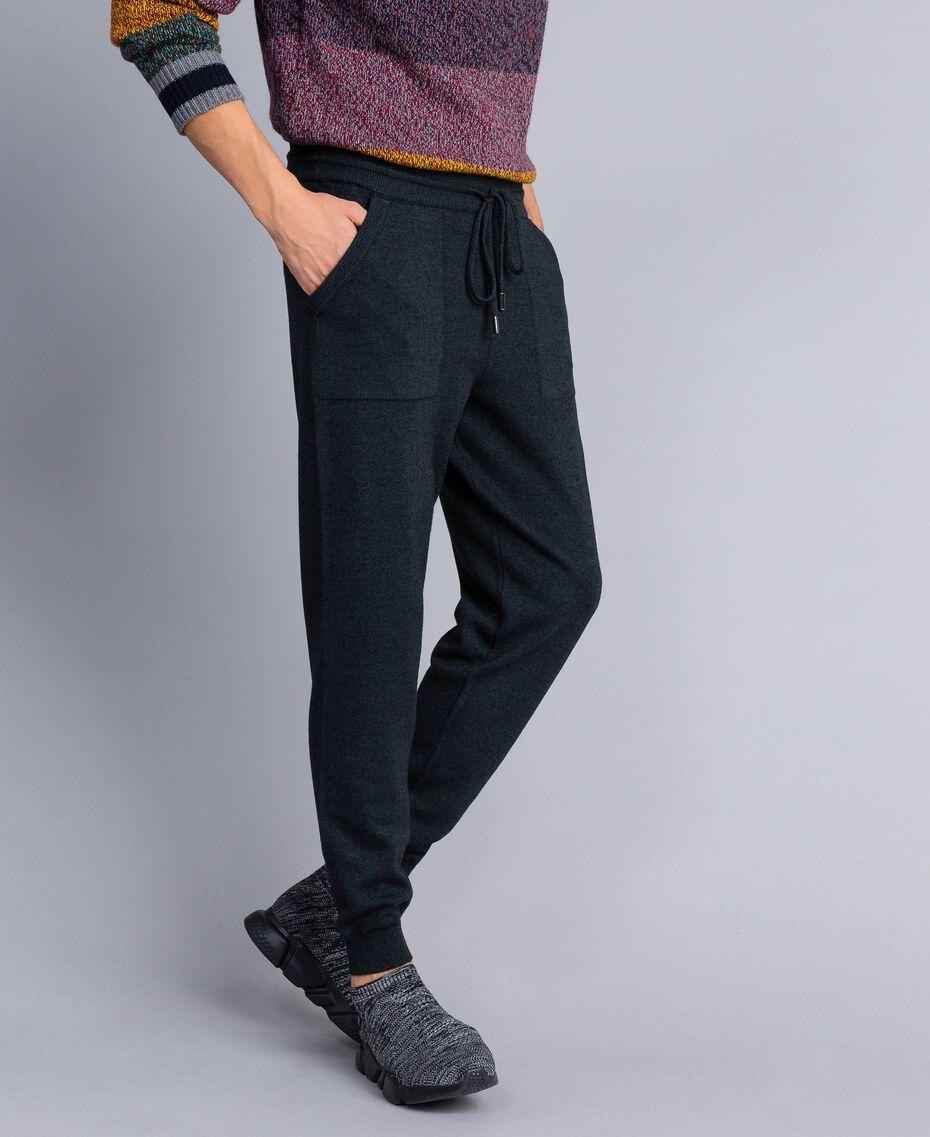 Pantalon de jogging en coton et laine Bicolore Bleu Nuit / Gris Anthracite Homme UA83BC-02