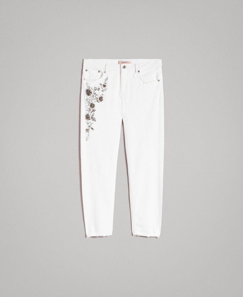 Drillich-Hose mit Stickerei Weiß Frau 191TT2520-0S
