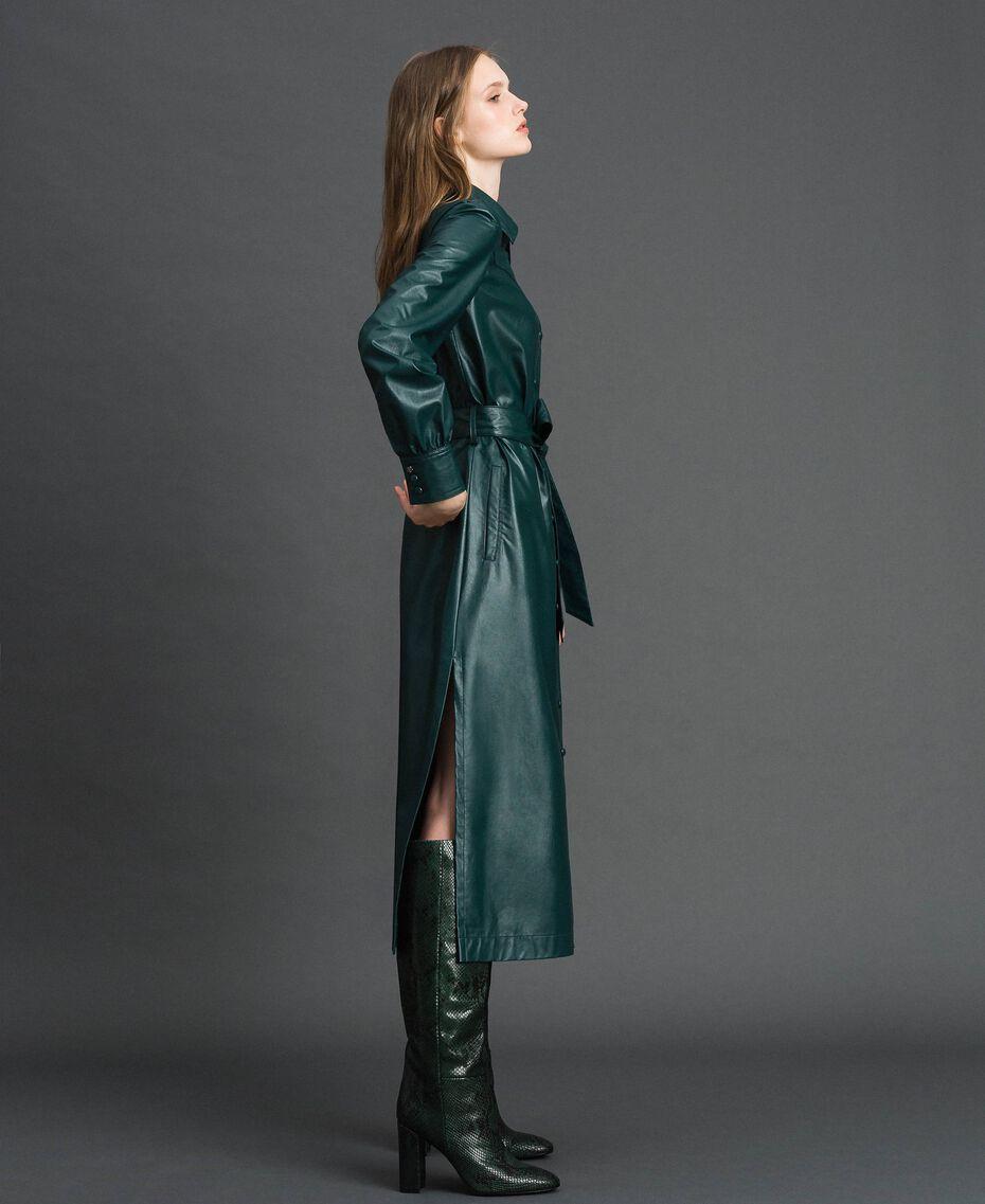 Robe chemisier longue en similicuir Noir Femme 192ST2010-02