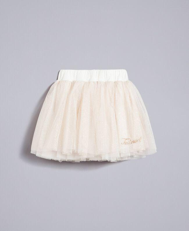 Gonna in tulle lurex Bicolor White / Lurex Oro Bambina FA82L3-01