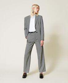 """Wool blend blazer with chevron pattern Black / """"Snow"""" White Chevron Woman 212TP2550-0T"""