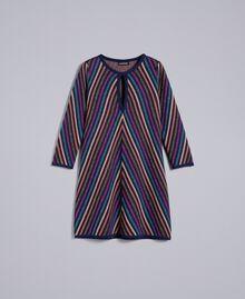 Abito jacquard a righe lurex multicolor Jacquard Riga Lurex Blu Donna TA838D-0S
