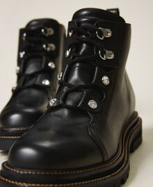 Leather combat boots with bezels Black Woman 202TCT120-03