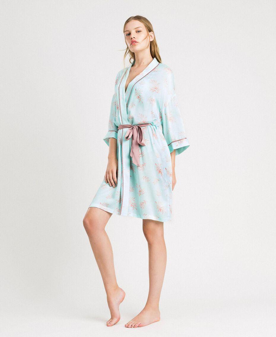 Robe de chambre en jacquard à imprimé floral Imprimé Feuilles Bleu Mousse Femme 191LL2FDD-02