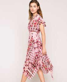 Robe en crêpe georgette imprimé, avec plis et volants Imprimé Géométrique Rose «Bonbon» Femme 201ST2185-02
