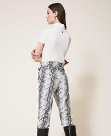 Animal print faux leather trousers Walnut / Tobacco Snakeskin Print Woman 202TT2225-03