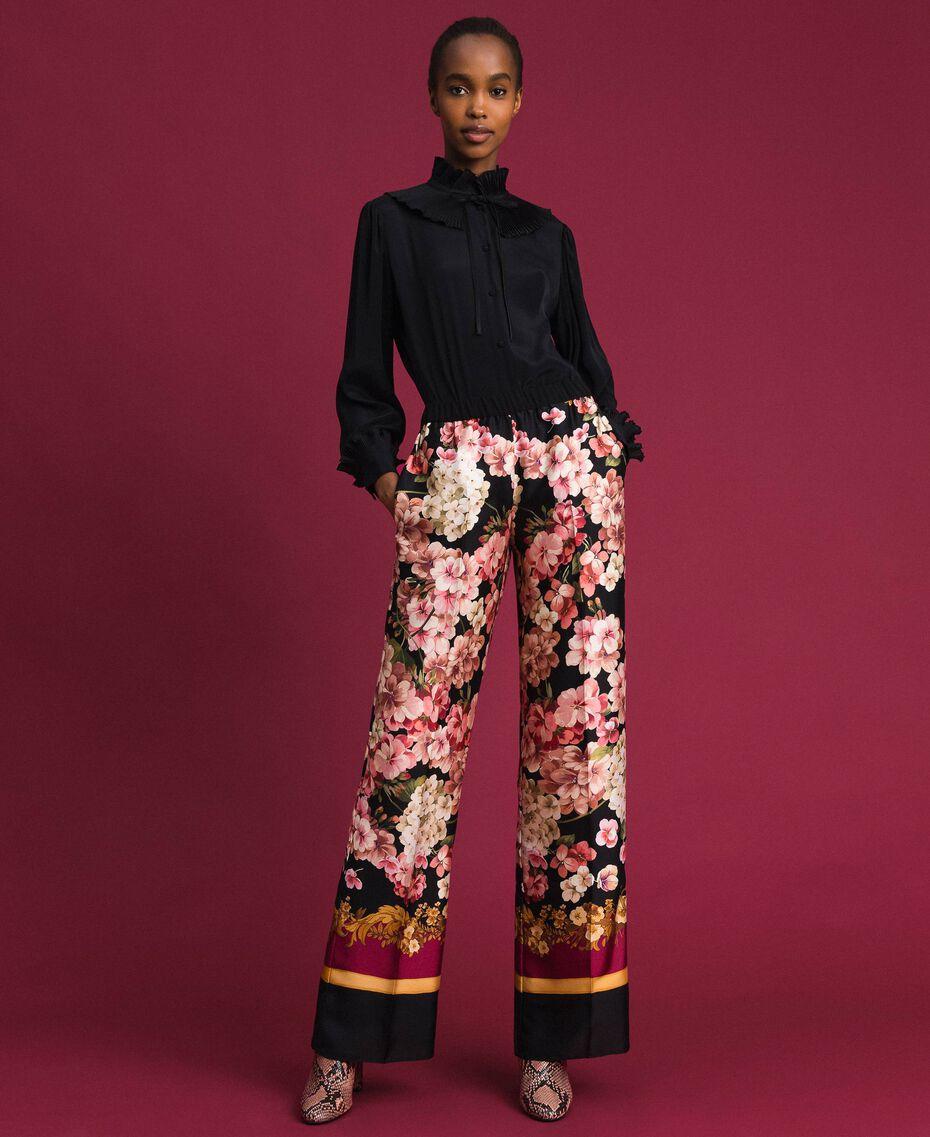 Camisa de crespón de China de seda mixta Negro Mujer 192TP2100-01