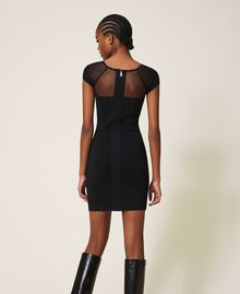 Vestido de tubo de punto y tul Negro Mujer 202MT3010-04