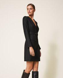 "Lurex pin striped dress with belt Black / ""Lurex"" Gold Pin Stripe Woman 202TT2176-02"