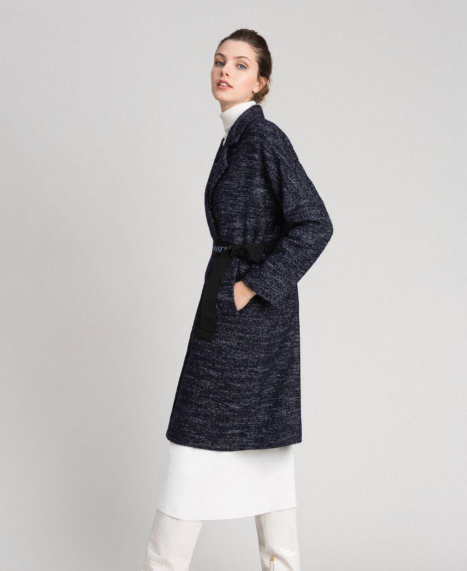 Manteau en drap à chevrons avec ceinture Jacquard Noir / Bleu Nuit Femme 192ST2100-02