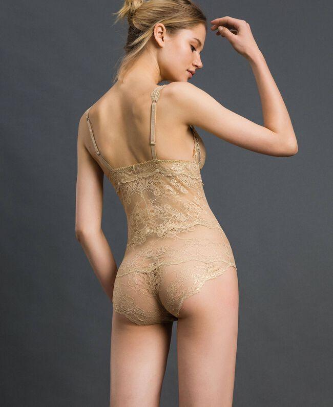 Body en dentelle lamée Jaune Or Femme 192LL6H00-03