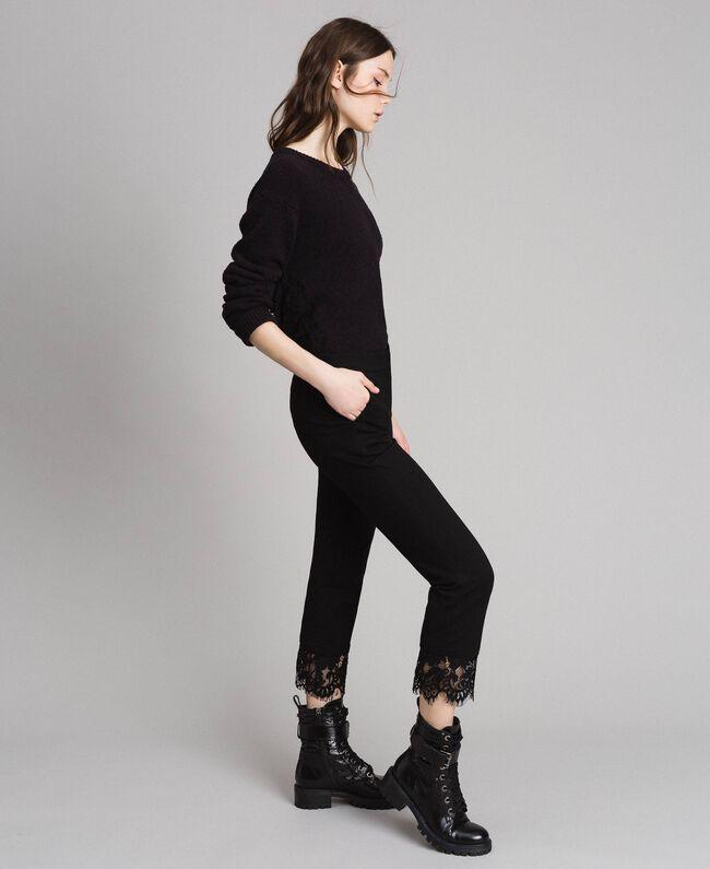Pantalon en point de Milan et dentelle Noir Femme 191TP242H-03