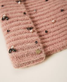 """Knit beanie with pearls and bezels """"Intense Nude"""" Pink Woman 202TO5110-02"""