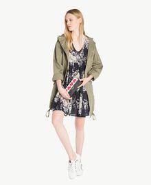 Kleid mit Print Blumenbouquetprint Schwarz Frau YS82PA-05