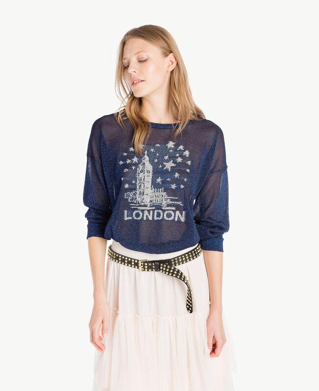 Lurex knit top Royal Blue Lurex Woman PS83Y1-01