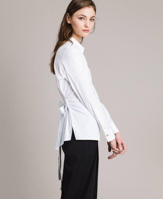 Popeline-Hemd mit Schleifen White Sahne Frau 191MP2216-01