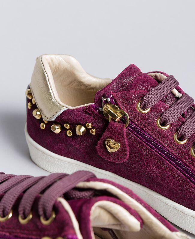 """Sneakers in pelle effetto lucido Viola """"Sweet Grape"""" Bambina HA88EN-04"""