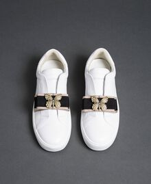 Leather trainers with embroidered band White Woman 192TCP06Q-04