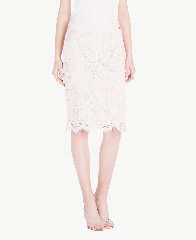 Mid-length lace skirt Pale Ecru Woman PS82XB-01