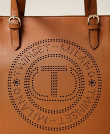 Shopper with openwork logo Leather Brown Woman 212TB7260-03