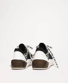 Baskets en filet avec détail animalier Bicolore Noir / Imprimé Animalier Femme 201MCP132-04