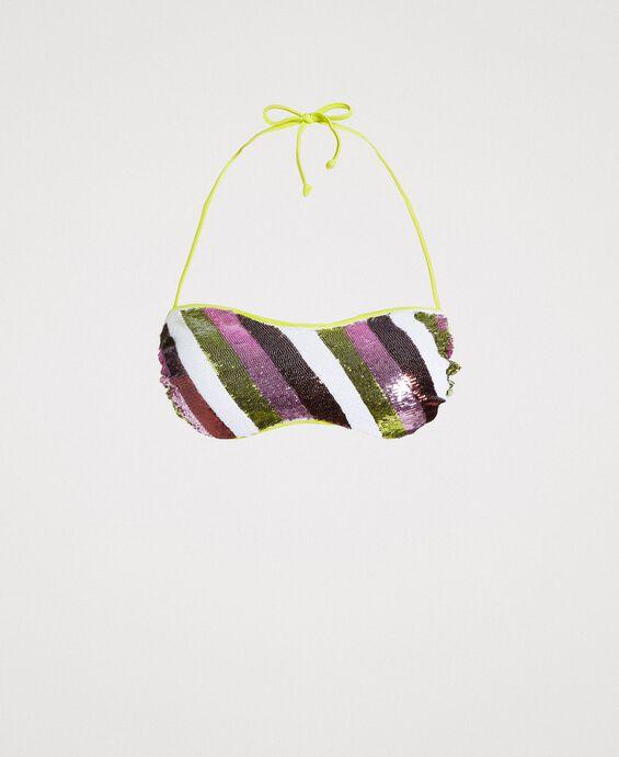 Haut de bikini bandeau à rayures orné de sequins