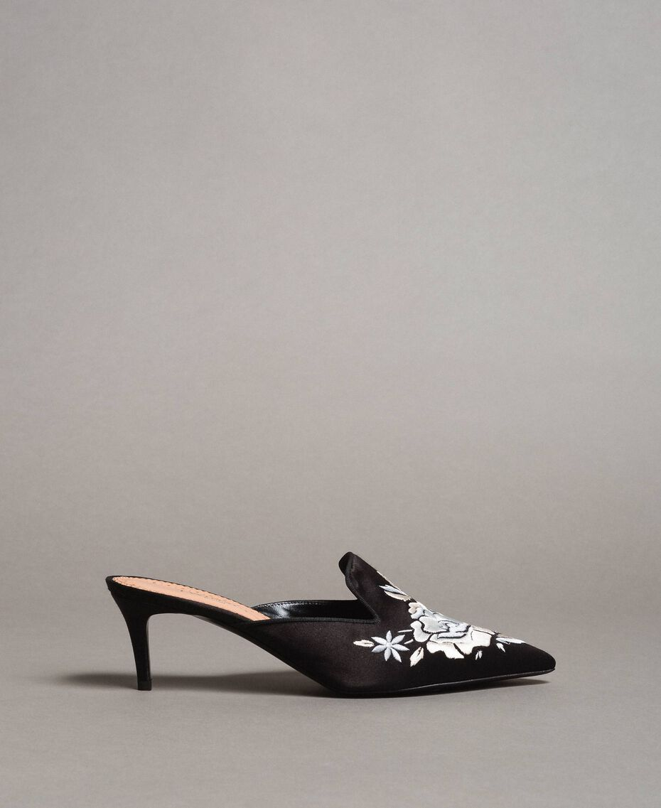 Embroidered satin mules Black Woman 191TCT016-02