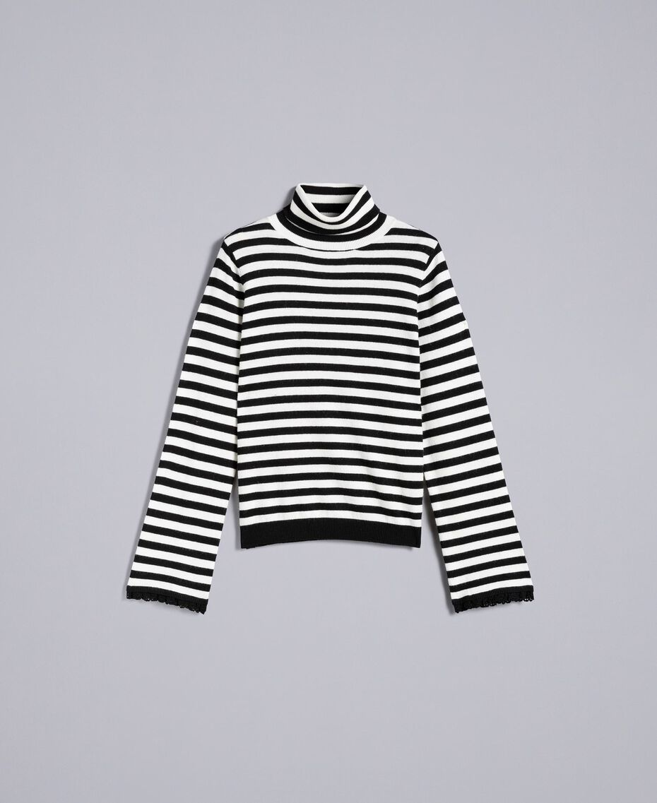 Striped cashmere blend mock neck jumper Black / Mother-of-pearl White Stripe Woman SA83FN-0S