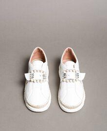 Leder-Sneakers mit Schnalle Weiß Frau 191TCT05C-05