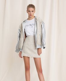 Bouclé fabric short skirt Multicolour Ivory / Silver Grey Woman 201TP2245-0T