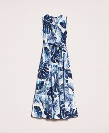 Длинное платье из набивного поплина Принт Тропический Горошек Синий / Виши женщина 201TP2552-0S