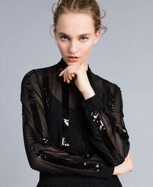 Chemise en crêpe georgette avec paillettes Noir Femme PA82J2-01