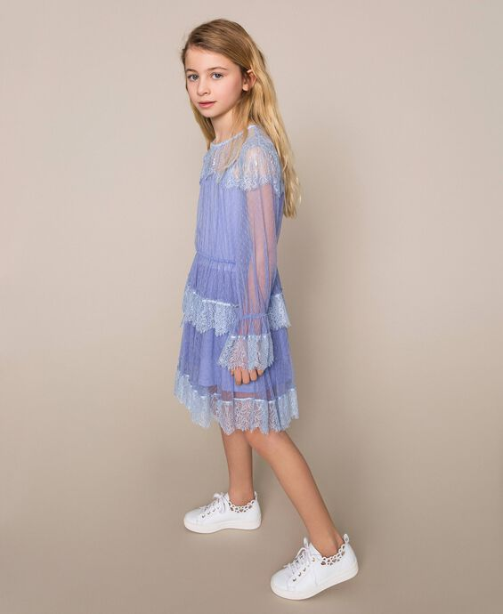 Plumetis tulle and lace dress