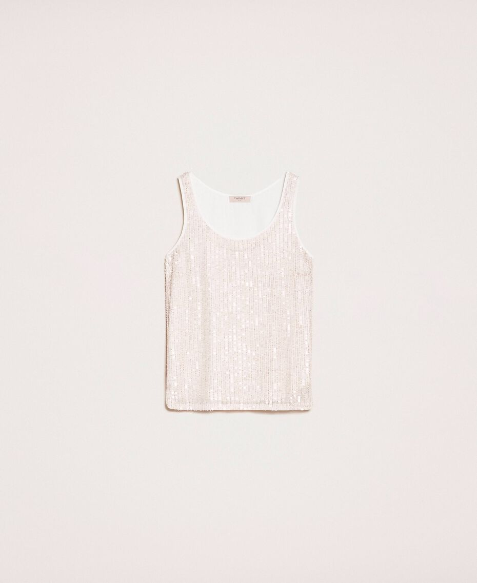 Full sequin and crystal bead top Ivory Woman 201TP2052-0S