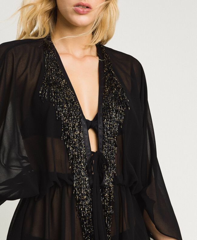Chiffon kaftan with fringes Black Woman 191LM2BFF-04