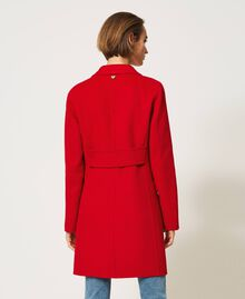 Mantel aus zweilagigem Tuch Kirsch Rot Frau 202TP2033-05