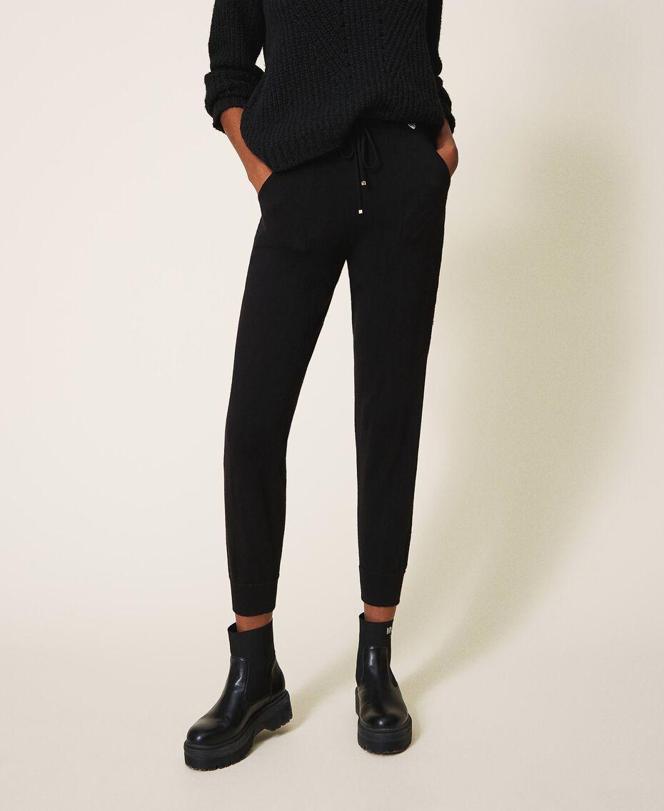 Трикотажные брюки-джоггеры с кружевом Черный женщина 202TP3384-02