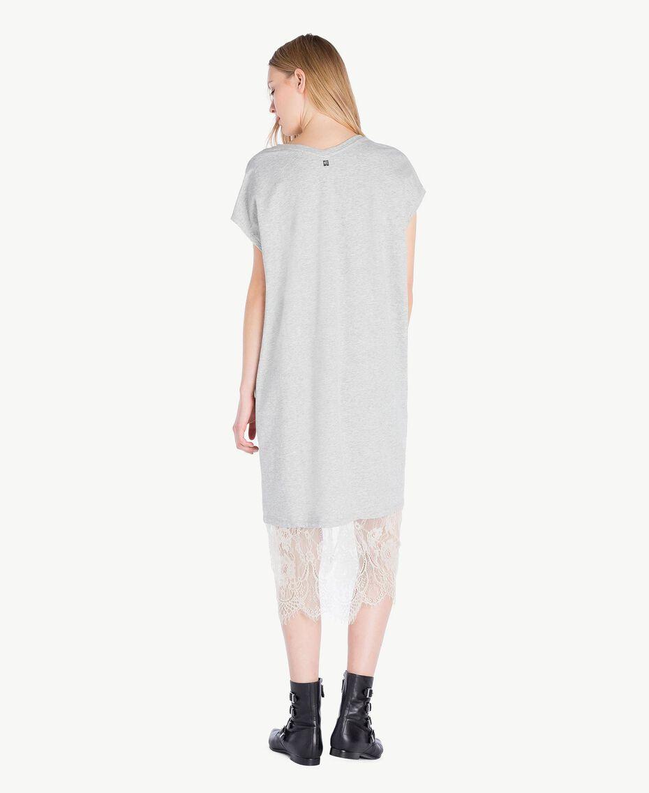 Kleid mit Spitze Hellgrau-Mélange Frau YS82KB-03