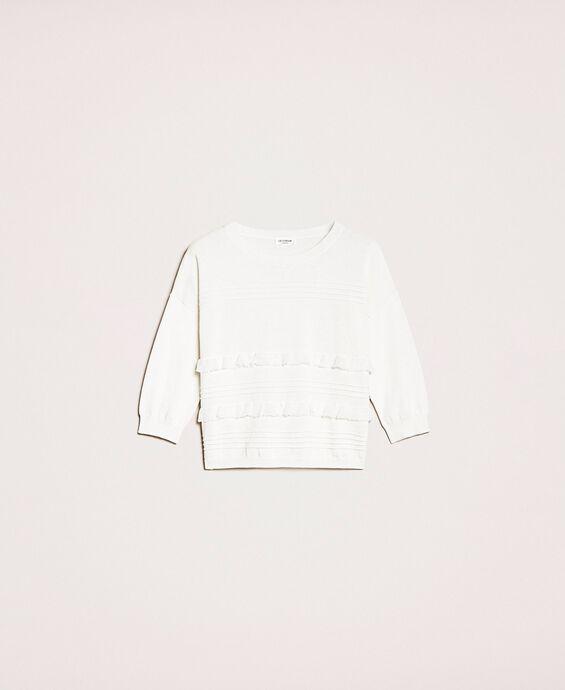 Pullover mit Ziernähten und Volants