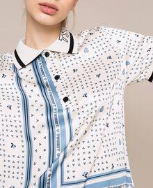 "Short satin pyjamas with logo print Two-tone ""Waterfall"" Blue / Black Woman 201LL28BB-04"