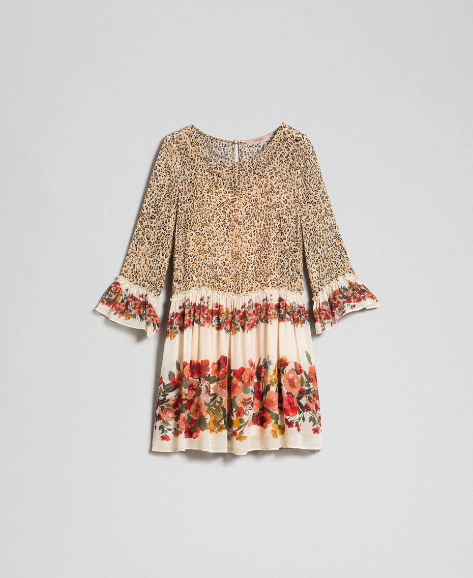 Kleid mit Blumen-Animal-Print Leopardenprint Frau 192TP2741-0S