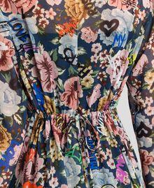 Maxikleid mit Blumen-Graffiti-Print Blumen-Graffiti-Print Blau Frau 192MP2221-04