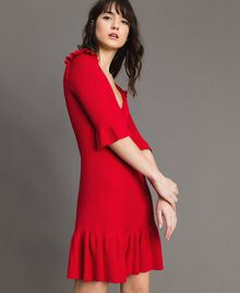 "Knit dress with ruffles ""Ruby"" Red Woman 191TP3271-01"
