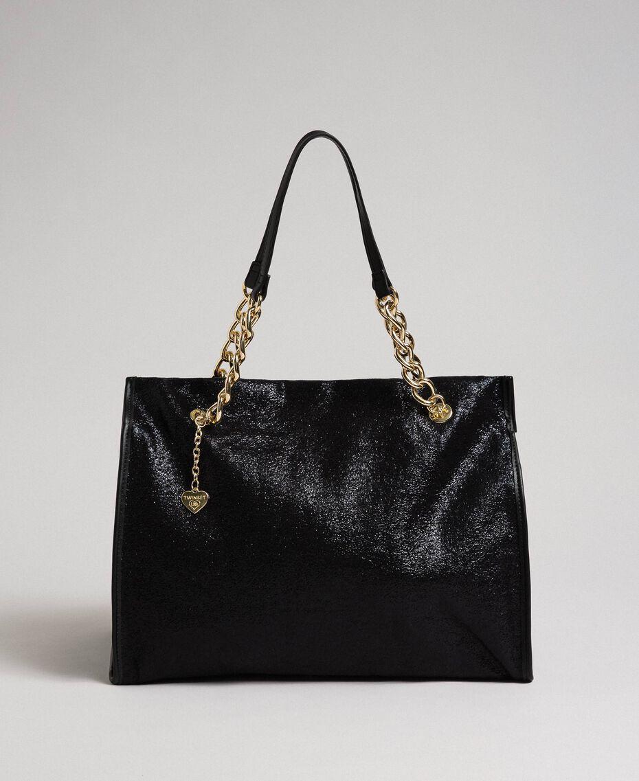 Reisetasche aus Lederimitat in Glitzeroptik Schwarz Frau 192LL7ZFF-01